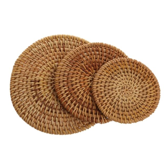 Handmade Rattan Mat Coasters Tea Coffee Drinks Pot Cushion Pad Teapot 8/10/13cm