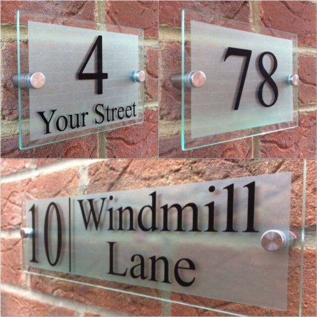 LARGE HOUSE SIGN PLAQUE DOOR NUMBER STREET GLASS EFFECT ACRYLIC NAME PR27BS