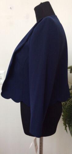 in Donna blu Sz 782418543750 misto corto navy cotone Kasper Giacca Mrsp 119 10 Blazer Nwt xFqIAR5
