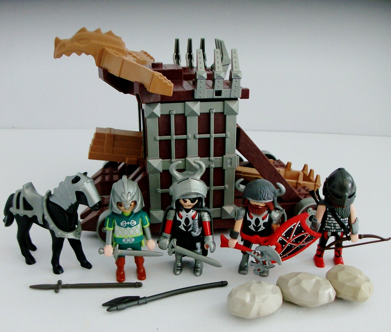 Playmobil 4837 Giant Catapult with Cell & 4 Knight Figures