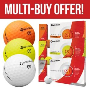TaylorMade-Golf-Project-S-White-Yellow-Orange-Golf-Balls-NEW-2019