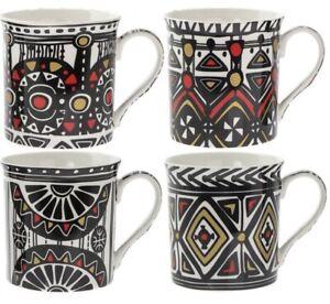 Set of 4 Black /& Red Tartan Chequered Coffee Mugs Fine Porcelain Mugs Set of 4