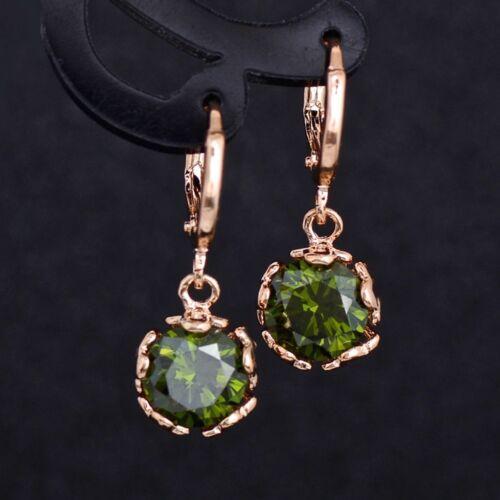 Women/'s Dangle Drop 18K Rose Gold Flower Earrings SWA Zircon Crystal Gift UK