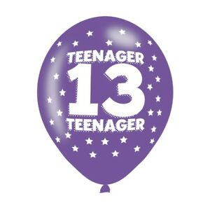 Image Is Loading Happy 13th Birthday Pack Of 6 Latex Balloons