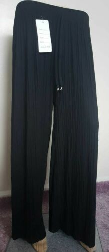 Women jersey Pleated Wide Leg Pants Trouser Elastic Waist  Loose Fitting BLACK