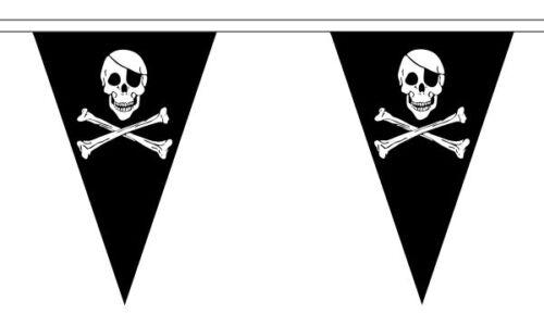 Skull and Crossbones Pirate Triangular Bunting 27 flags 10 metre Long Bunting