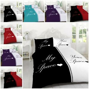 My-Space-for-Him-Her-Duvet-Quilt-Cover-Pillowcases-Bedding-Sets-Double-King-Size