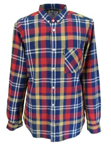 LAMBRETTA Retro Button Down Blu Marino//Rosso//senape Check camicia a maniche lunghe