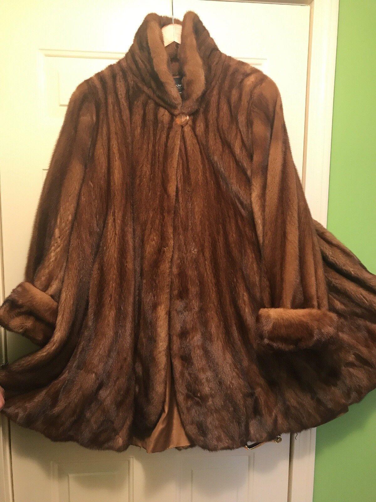Genuine Genuine Genuine Real Mink Fur Coat Stroller for Women Flowing Flare Soft Brown de96b3