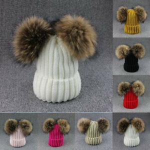 Women-039-s-Winter-Warm-Chunky-Knit-Fur-Pom-Pom-Cute-Outdoor-Beanie-Hats-Hat-Cap-UK