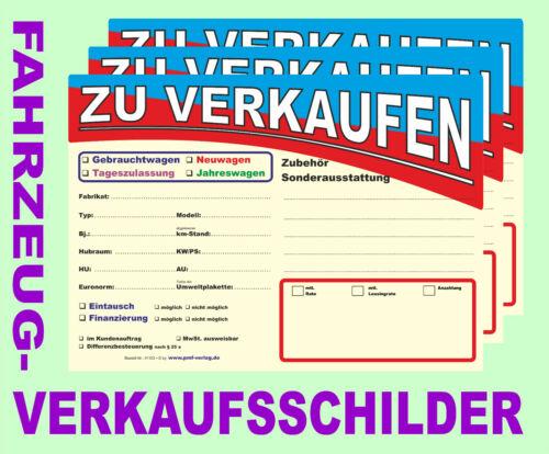 DIN A4 in 2 Ausführungen Preis- Verkaufsschilder Auto- PKW- Fahrzeug- Kfz-