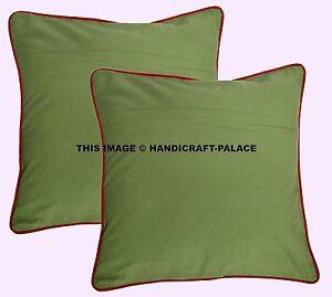 Paire Vert Coton Solide Carré Indien Canapé Coussin Housse Fermeture Lavable