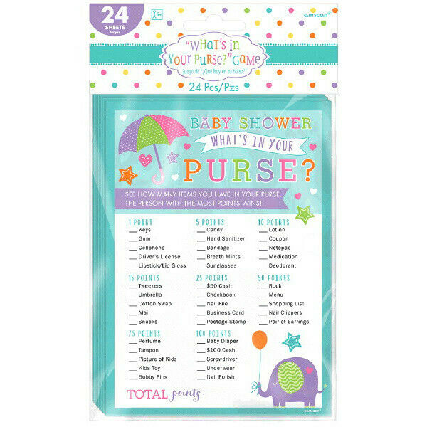 24 Baby Shower Games Boy What/'s in Your Purse Cards Blue Party