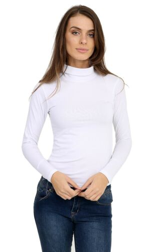 Womens Ladies 45/% Cotton Roll High Neck Polo Turtle Top Jumper Long Sleeve Tops