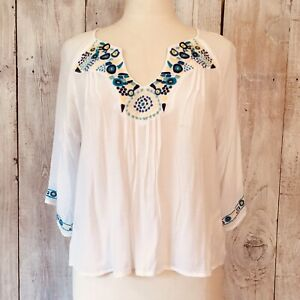 blue cotton blouse novelty embroidered blouse