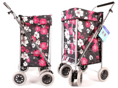 Shopping trolley 6 wheels cart grocery folding market laundry portable utility