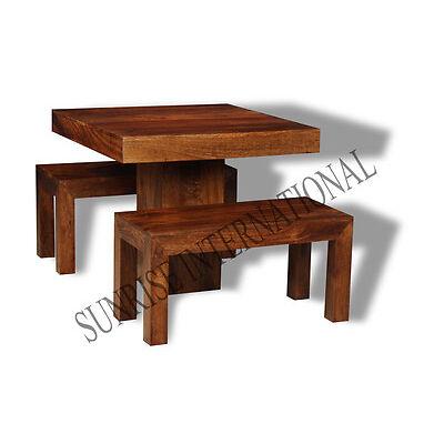 Dakota 3pc Wooden Dining Set ( 1 Table + 2 Benches )