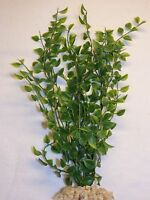 Artificial Aquarium Plant W/ Stone Base – 12 Small Pea Leaf (not Wired)