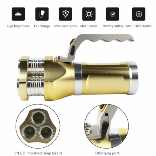 10000LM Rechargeable 3T6 Spotlight 18650 3 X LED Flashlight Super Bright Torch