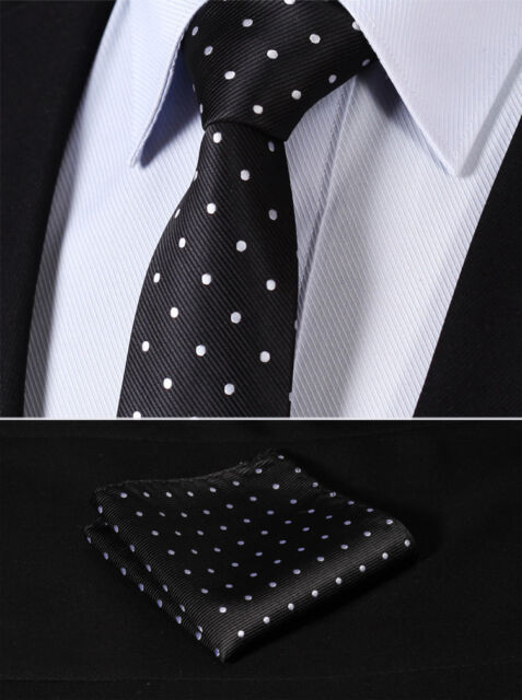 "TD1004L7 Black White Polka Dot 2.75"" Silk Slim Narrow Men Handkerchief Necktie"