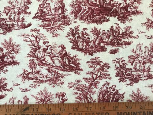 Cotton Quilt Fabric Victorian Print Maroon BTHY