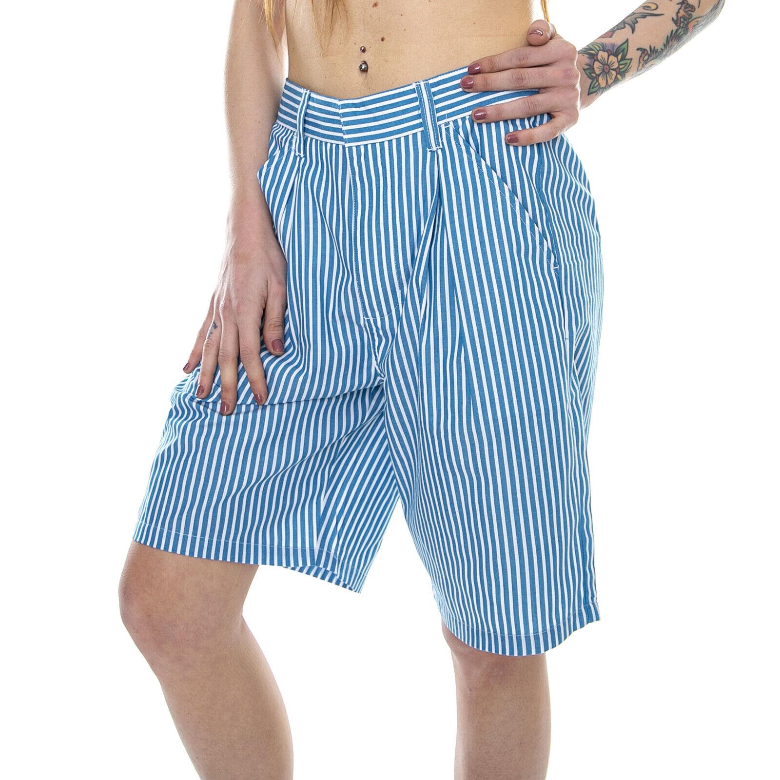STUSSY Doris Stripe Ausgebeult - Blau Streifen - Bermuda Frau Blau