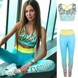4b0f96a51ab4 Details about 2Pcs Womens Sport Gym Yoga Vest Bra Sports Legging Pants  Fitness Outfit Wear Set