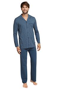 48-64 S-6XL Pyjama 100/% CO SCHIESSER Herren Schlafanzug lang mit Knopfleiste Gr