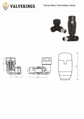 Pair Black Corner Bi Directional Thermostatic TRV Radiator /& Towel Rail Valves