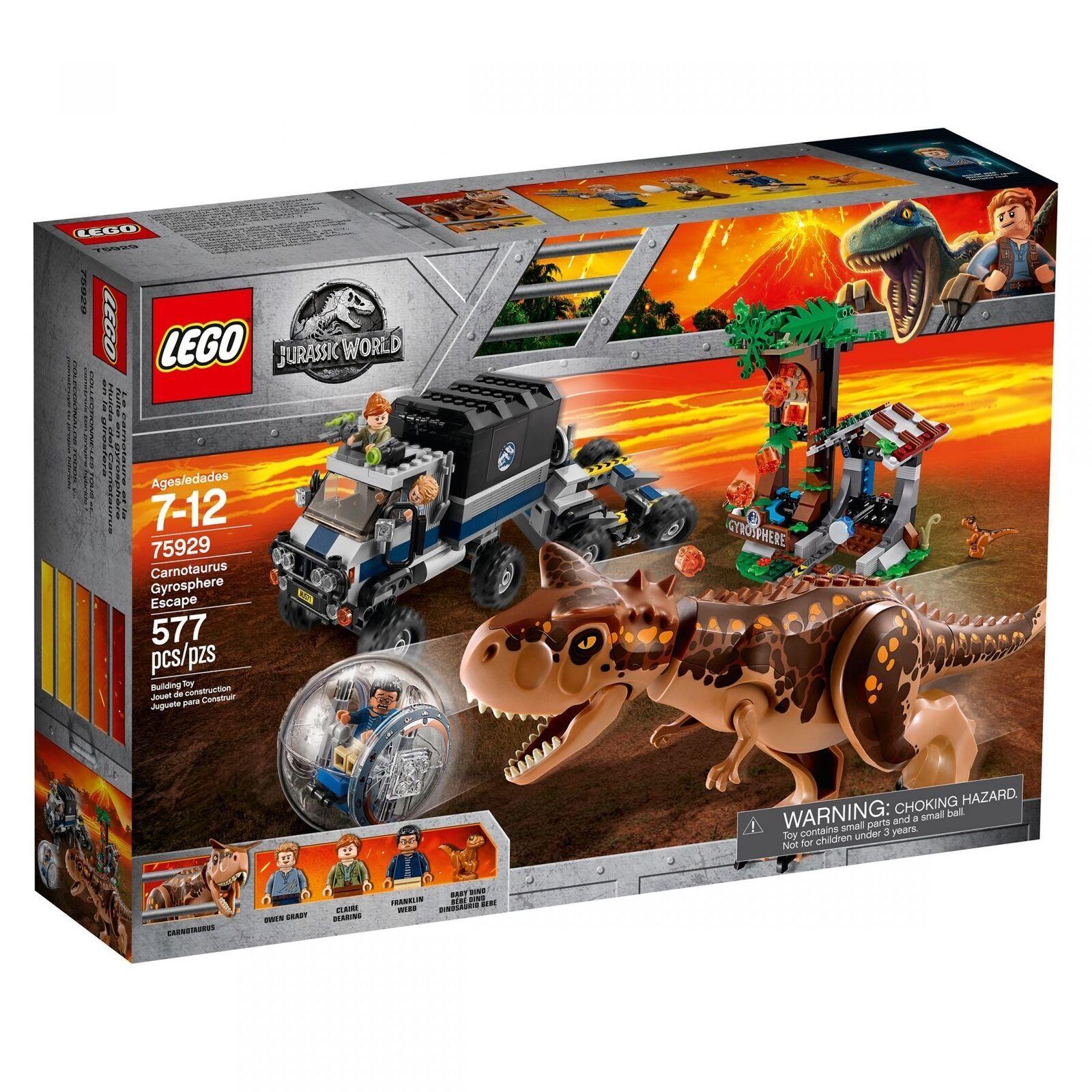 LEGO ® Jurassic World ™ 75929 un Carnotaurus-fuite dans la gyrosphere Neuf New En parfait état, dans sa boîte scellée