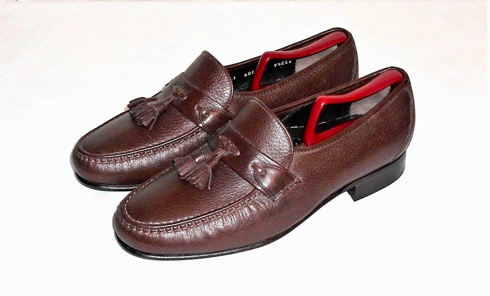 E. T. Wright Brown Leather Tassel Loafer Slip On Made in  Men's 9.5 EEE
