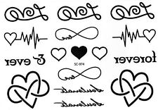 Schrift Love Forever Herz Temporary Temporäre Klebe Einmal Tattoo 10x15cm SC974
