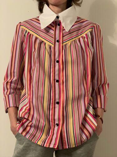 Handmade Striped Blouse Shirt Lady/'s Rainbow size 4-30
