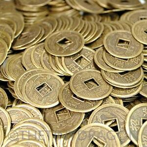 """LOT OF 40 FENG SHUI COINS 0.9"""" 2.3cm Lucky Chinese Fortune Coin I Ching Metal"""