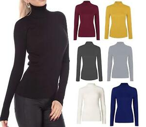 872d7ddd63e170 NEW WOMEN'S LADIES COTTON RIBBED POLO TURTLE HIGH ROLL NECK LONG ...