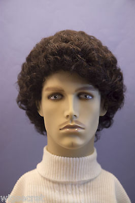 Darkest Brown Brunette Curly Men Wig