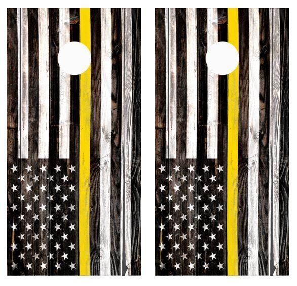 Thin Yellow Line Barnwood Cornhole Board Wraps FREE APPLICATION SQUEEGEE