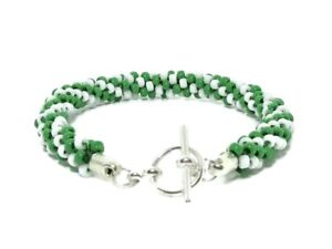 Green-amp-White-Stripe-Kumihimo-Seed-Bead-Fashion-Bracelet-Gift-For-Her-Under-15