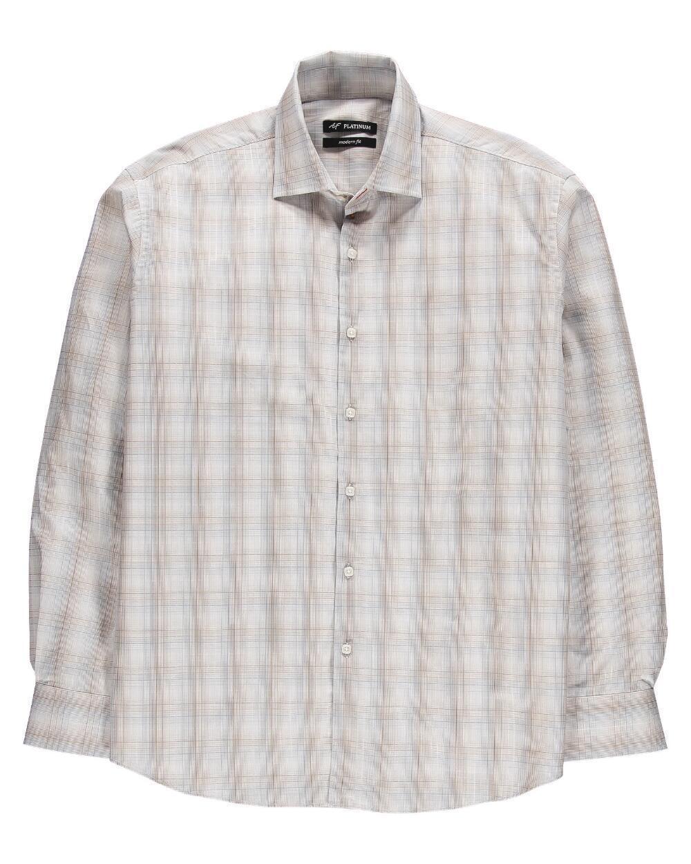 Alan Flusser - NWT - Mens S - Beige Plaid Long Sleeve Poplin Cotton Shirt