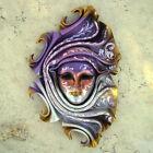 Samira - Maschera veneziana artigianale in ceramica e cuoio