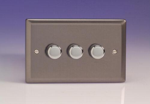 Varilight 3-Gang 2-Way Push-on//off Rotary DEL Dimmer Interrupteur De Lumière 3 X 0-100 W ma