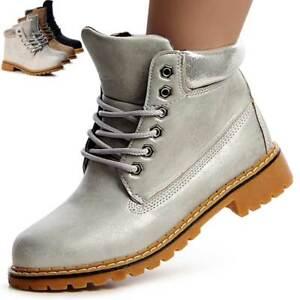 Damen-Worker-Boots-Stiefeletten-Stiefel-Booties-Schnurboots-Metallic-1033