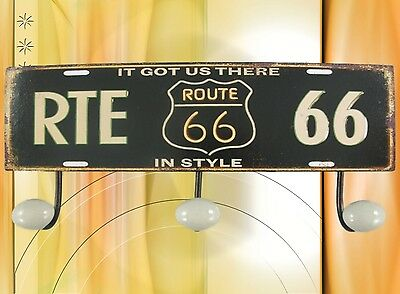 Antiques Honest Wardrobe 3er Route 66 Wall Hook Reproduction Arms./wardrobes Shield Türgarderoben Iron Vintage
