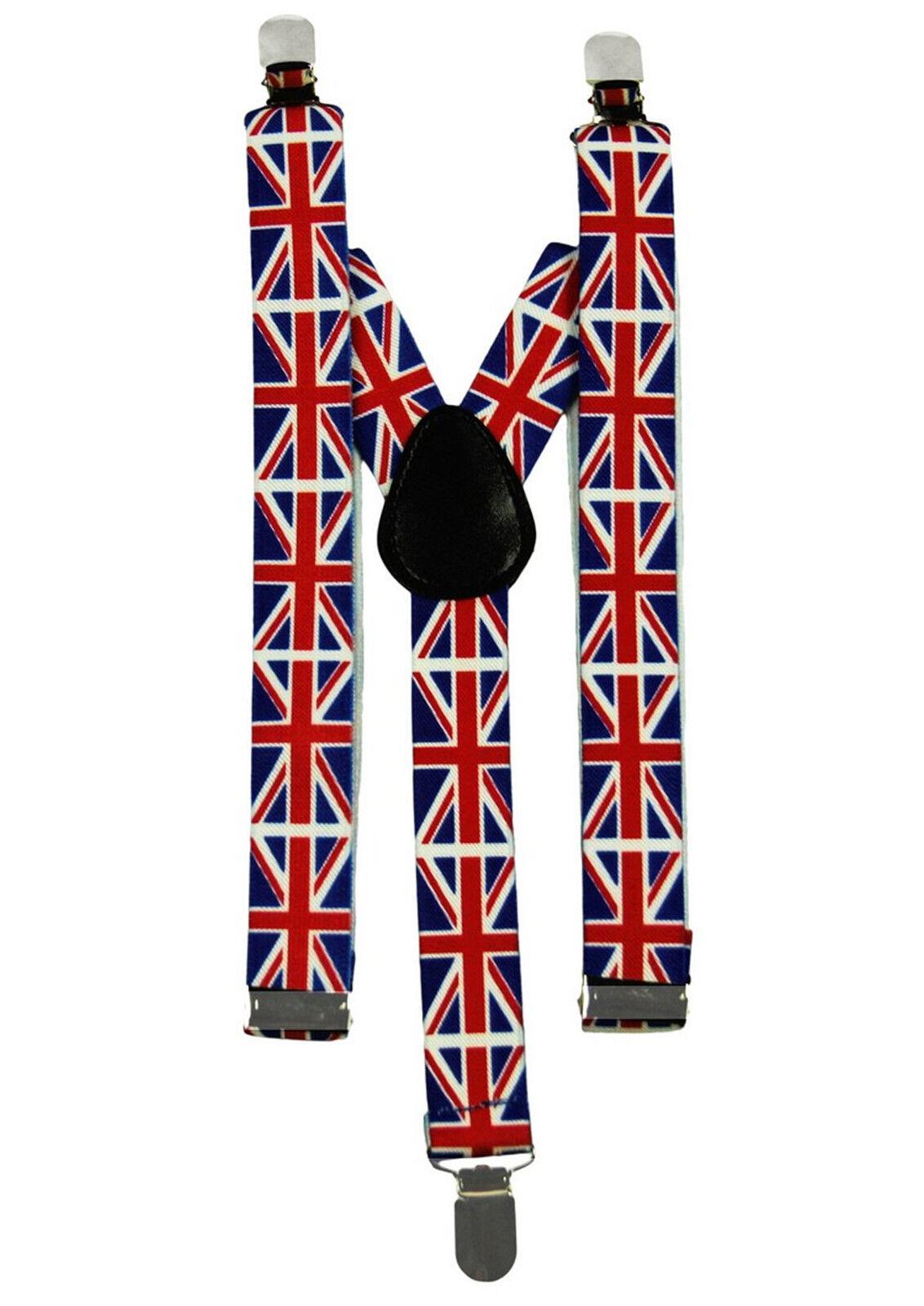 Verstellbar 2.5cm Clip Auf GB Union Jack Hosenträger