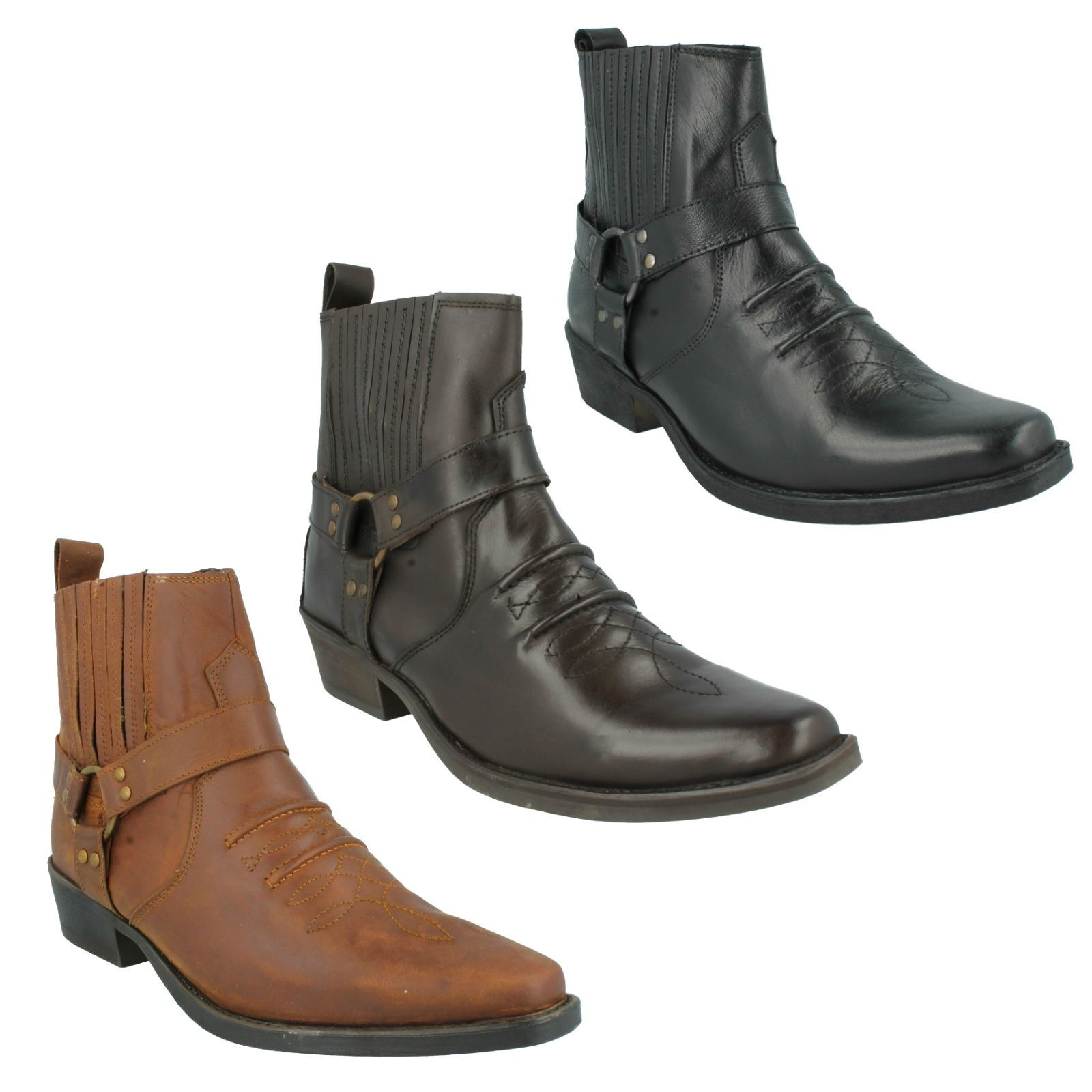 Hombre A3003 LEATHER LOW HEEL RING ANKLE STRAP SIDE GUSSET COWBOY ANKLE RING botas MAVERICK 3e0469