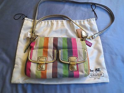 Coach Purse Poppy Legacy Stripe Hippie Shoulder Crossbody Bag Womans 19025 New