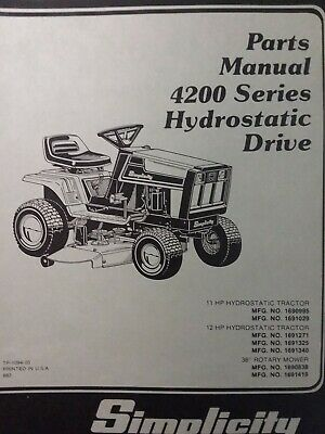 Simplicity Hydro 4211H 4212H Lawn Tractor Mower Parts Manual 1691340 1690995 EBay