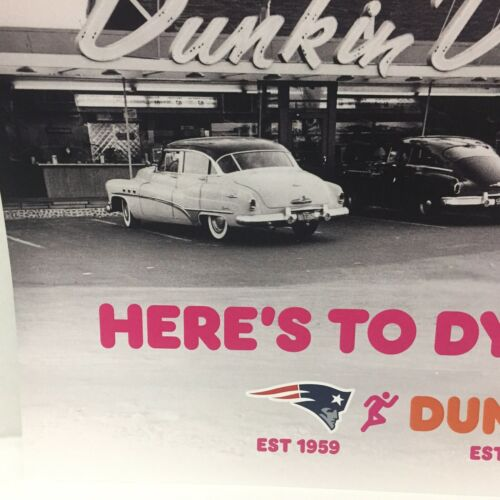 Dunkin Donuts New England Patriots Dynasties Poster 1950s Cars 17x11.5 Buick