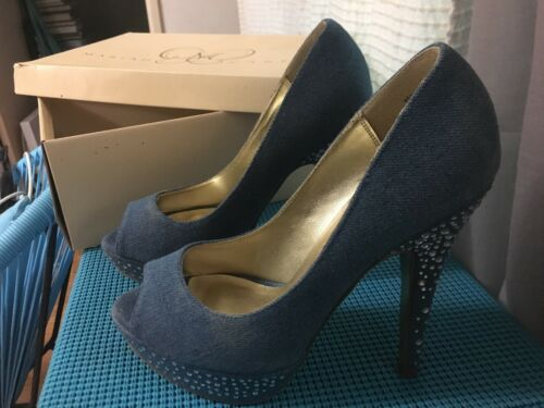 Crystal Size Mariah Heels In Carey Box New Shoes Blue Us 6 Denim tqY7Aq