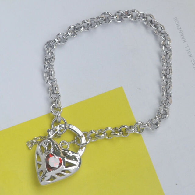 9K Solid White Gold Filled Belcher Bracelet & Shiny Stone Heart Locket Stamp 9K